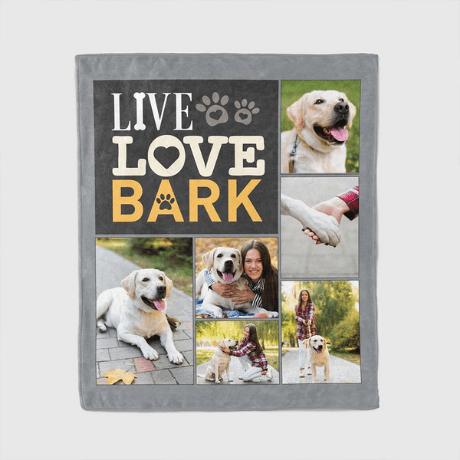 Live Love Bark Custom Photo Collage Dog Lover Blanket