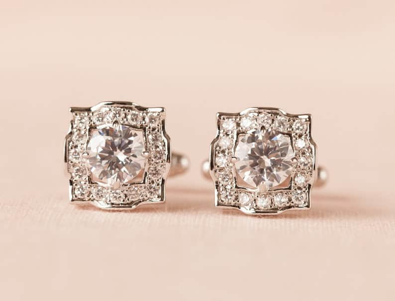 crystal wedding anniversary:Men's Clear Crystal Cufflinks