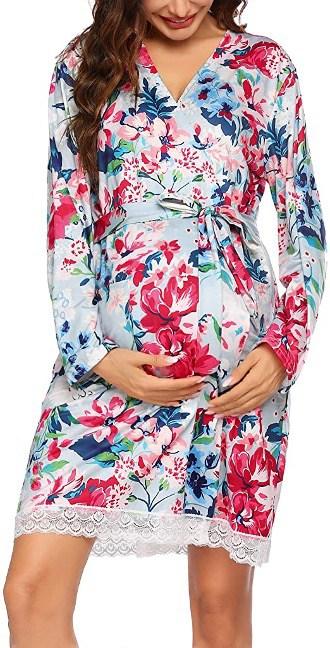 Pregnancy Nightgown Soft Kimono Bathrobes
