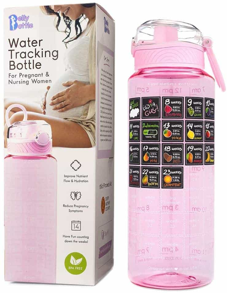 Pregnancy Water Bottle Intake Tracker with Weekly Milestone Stickers