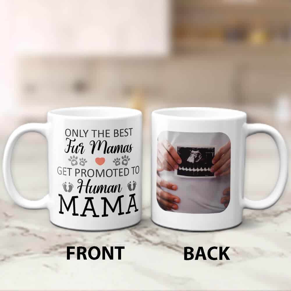 Promoted to Human Mama Custom Mug - Gift for Pregnant Women and First Time Moms