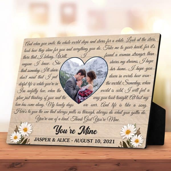 Song Lyrics Or Vows Custom Photo Desktop Plaque