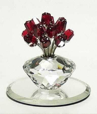 15 year wedding anniversary:Swarovski Vase of Roses
