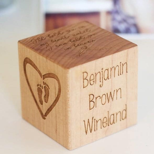 baby MEMORIAL BLOCK - personalized wooden keepsake to remember infant loss, baby bereavement gift, in memory of child