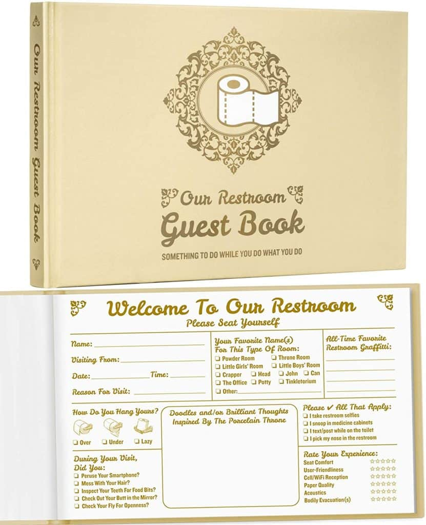 hilarious white elephant gifts: bathroom guest book