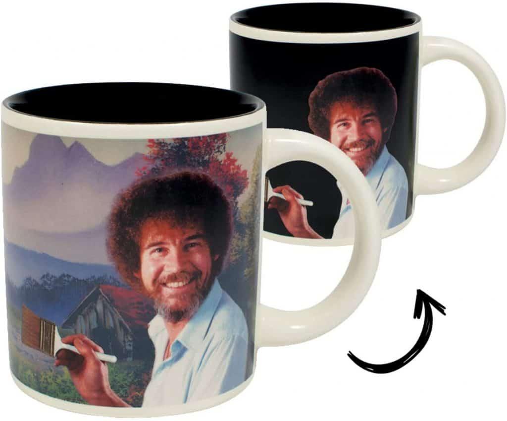 fun white elephant gifts: bob ross heat changing mug