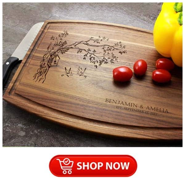 best christmas gifts for parents: engraved love birds cutting board