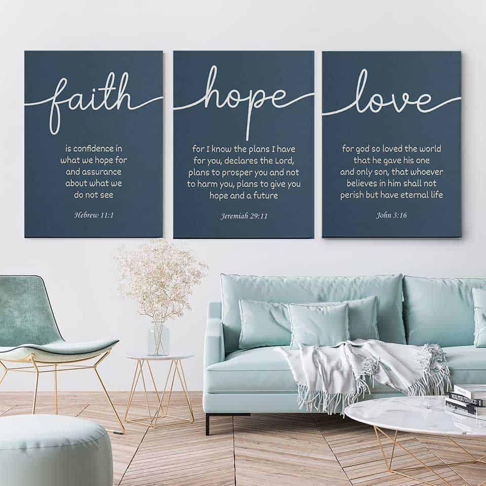 faith love hope canvas set - Christian gifts