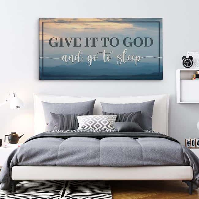 give it to god and go to sleep canvas print