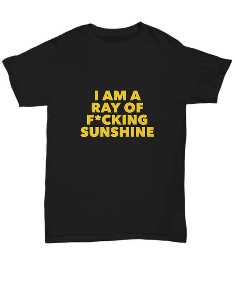 """sarcastic t-shirt with text """"i am a ray of f*cking sunshine"""""""