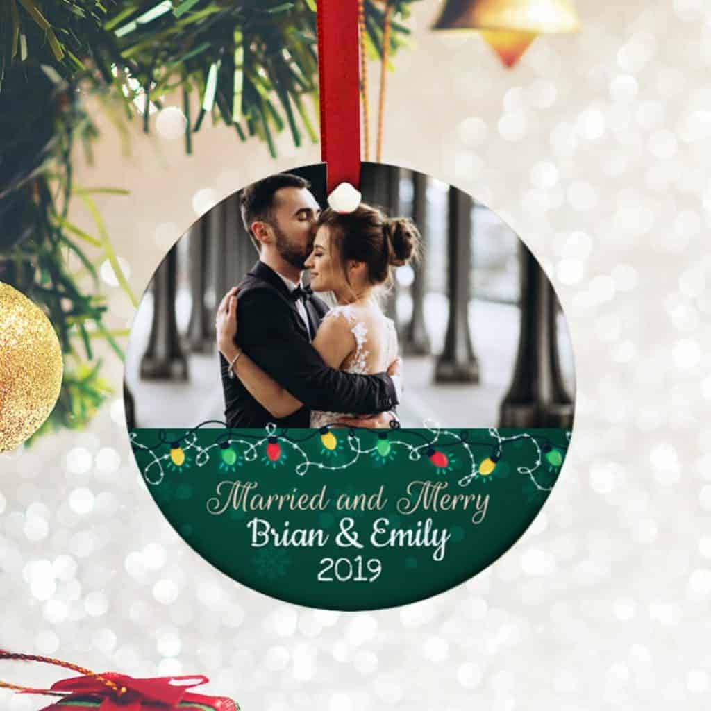 married-and-merry-christmas-ornament-photo