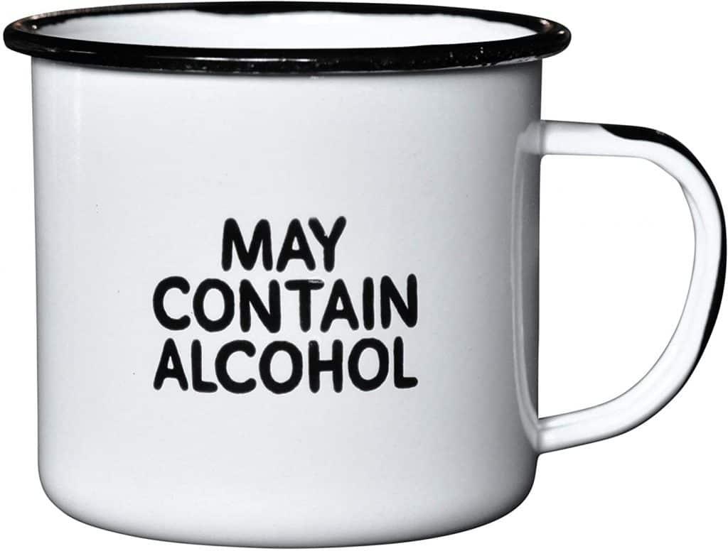 cool white elephant gifts: 'may contain alcohol' enamel mug