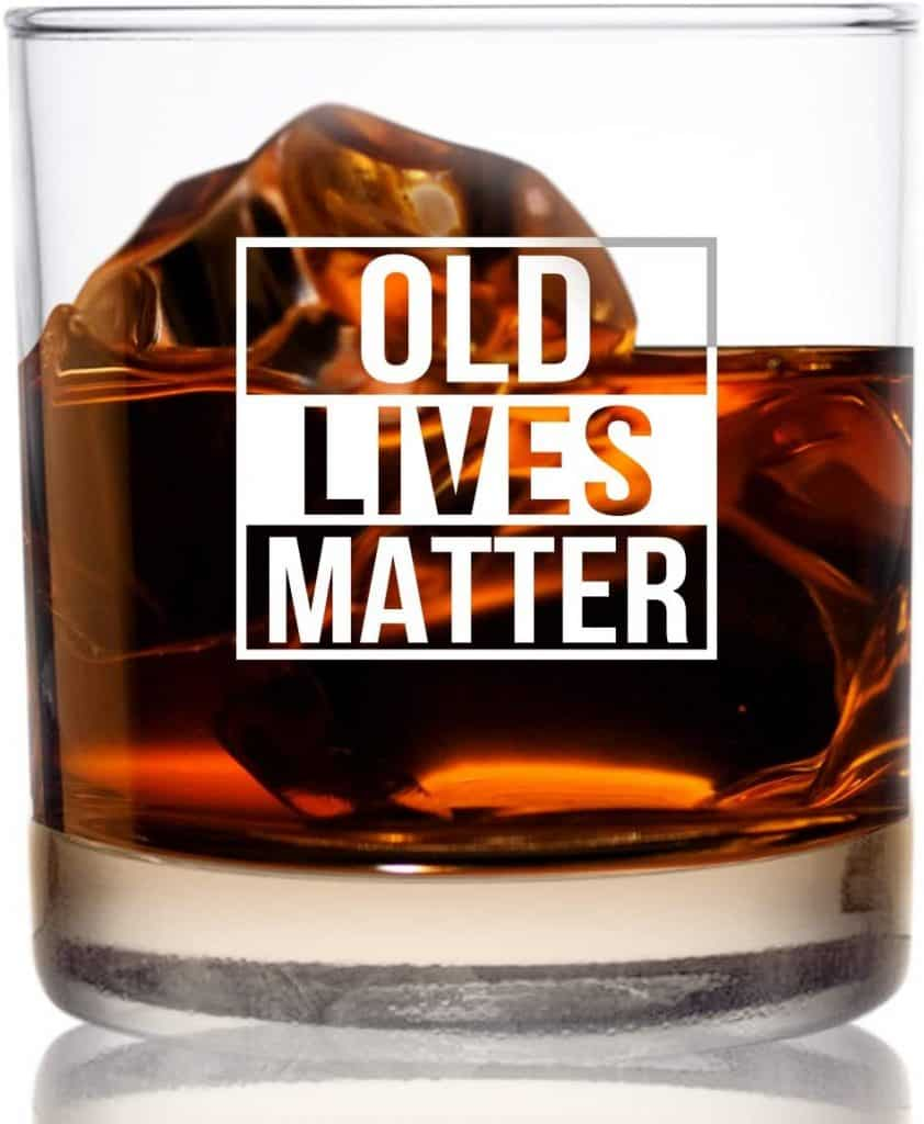 funny retirement gifts: old lives matter glass