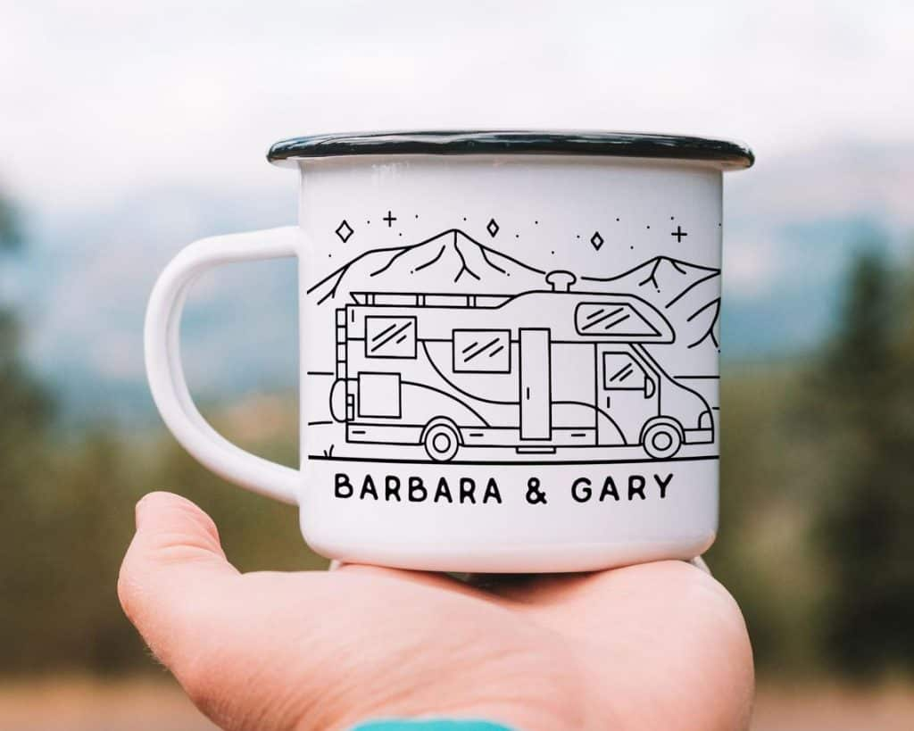 personalized camping gifts: personalized campfire enamel mug