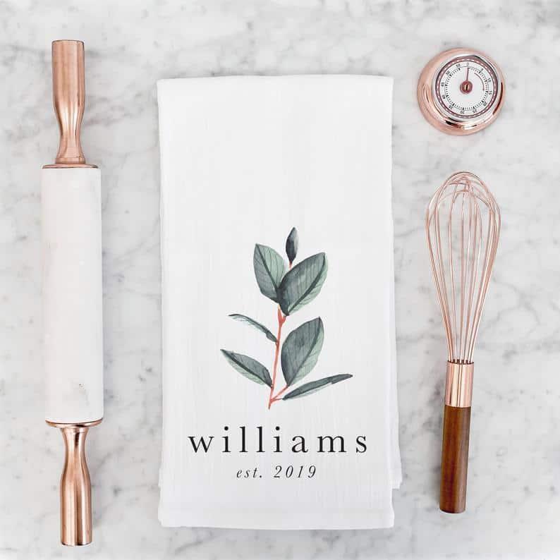 unique kitchen gift ideas: personalized tea towel