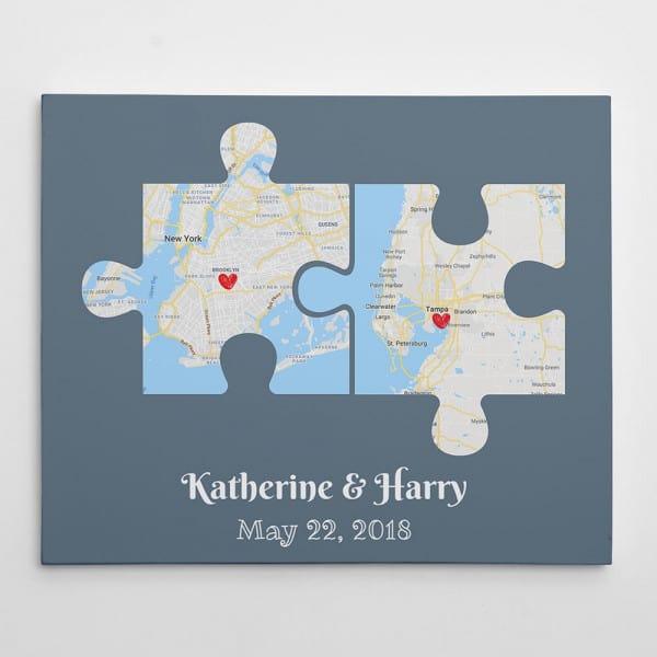 Couple Puzzle Map Canvas