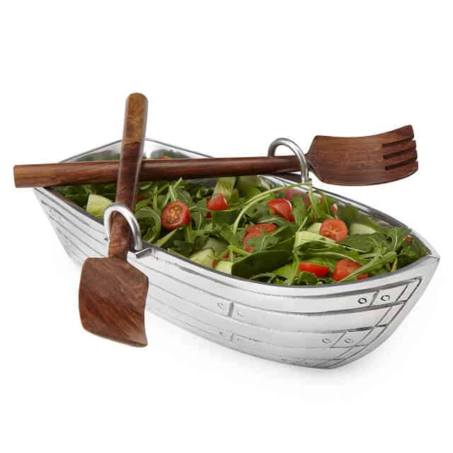 kitchen christmas gifts: row boat serving bowl with utensils