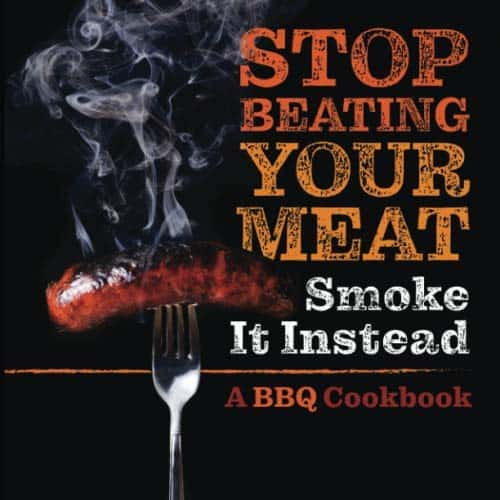 hilarious white elephant gifts: stop beating your meat bbq cookbook