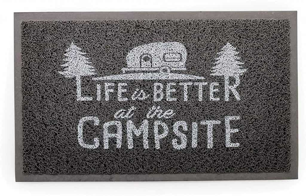 rv camping gifts: welcome mat with text 'life is better at the campsite'