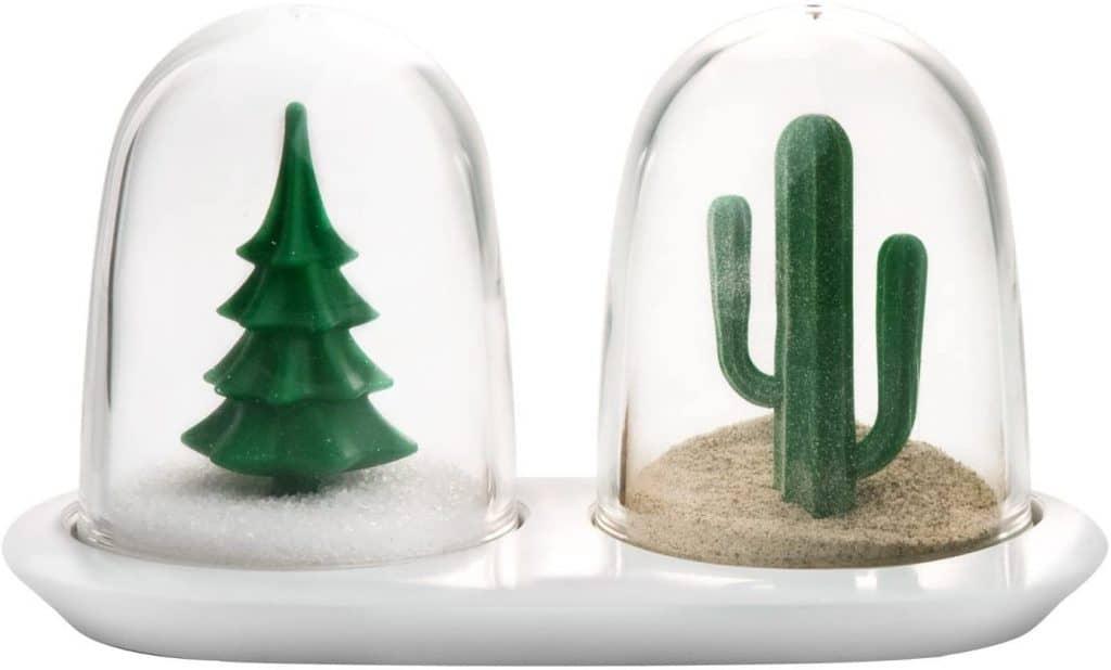 best white elephant gifts: winter summer salt and pepper shaker set