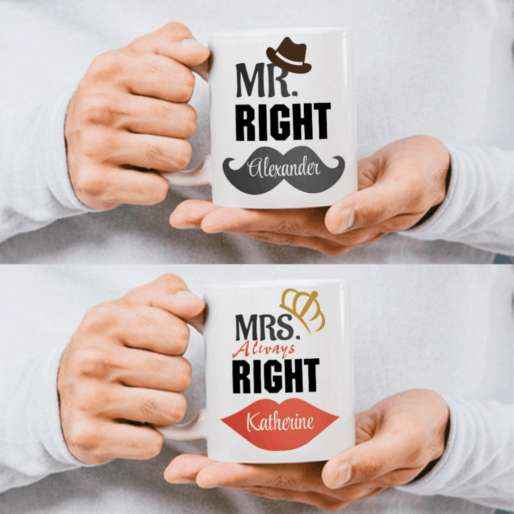 """far away lover gifts: """"Mr. Right and Mrs. Always Right"""" Custom Couple Mugs"""