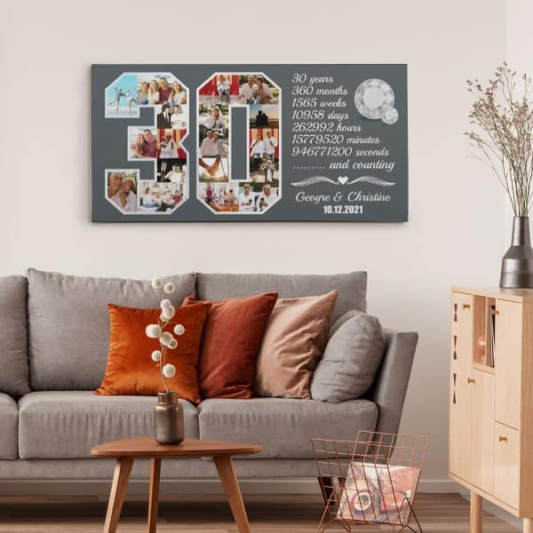30th Anniversary Custom Photo Collage Canvas Print