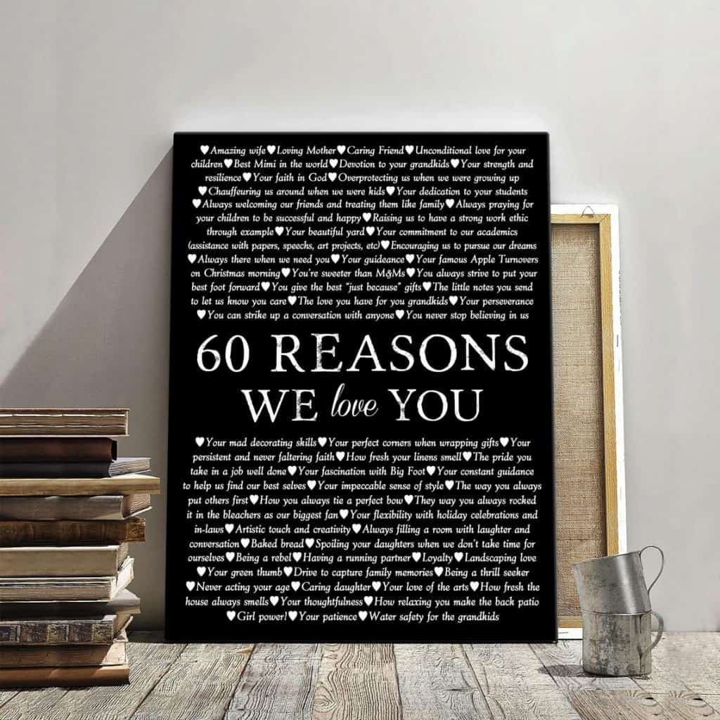 60 reasons we love you 60th birthday canvas print for dad