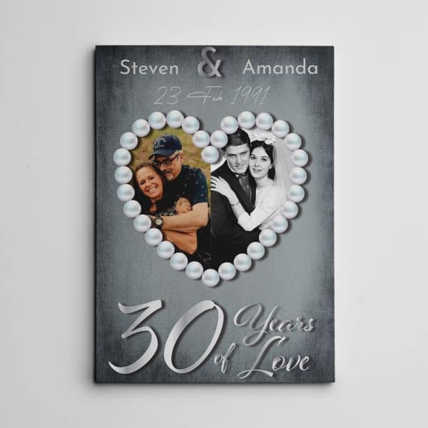 30 Years of Love Pearl Anniversary Photo Canvas