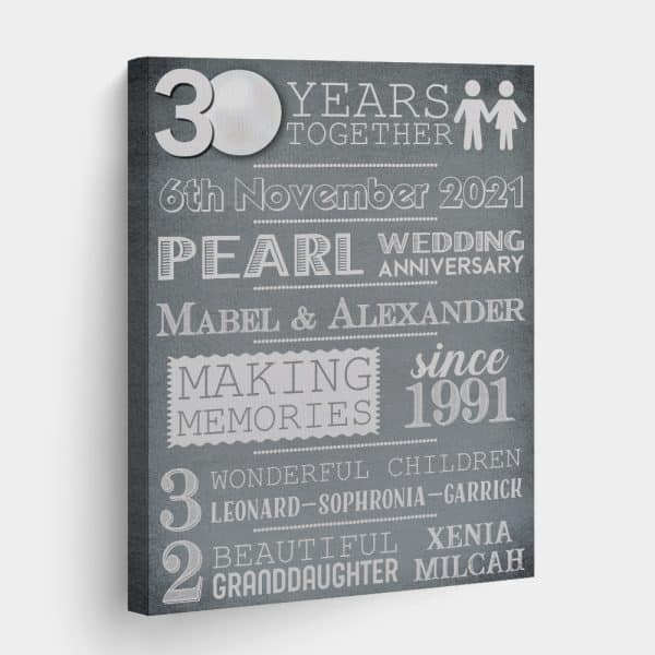 30 Years Pearl Wedding Anniversary Custom Canvas Print