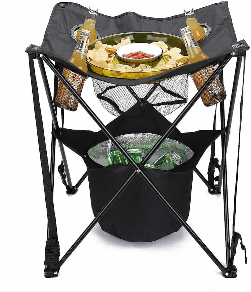 Collapsible Folding Table with Insulated Cooler, Food Basket, and Travel Bag Gift For Dad