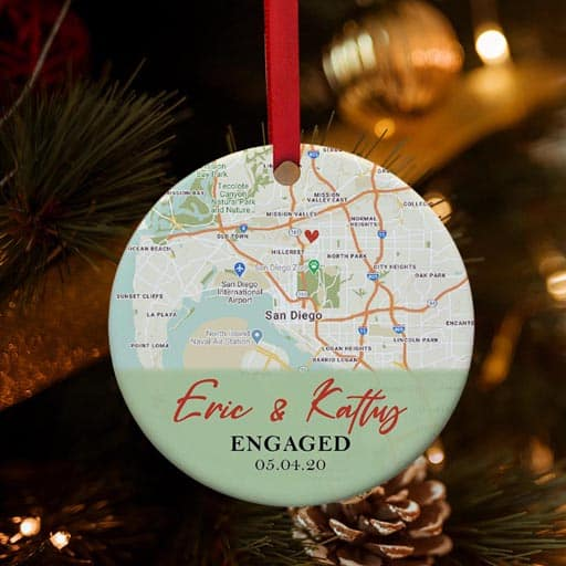 Custom Map Engagement Ornament - gifts for your soon to be sister in law