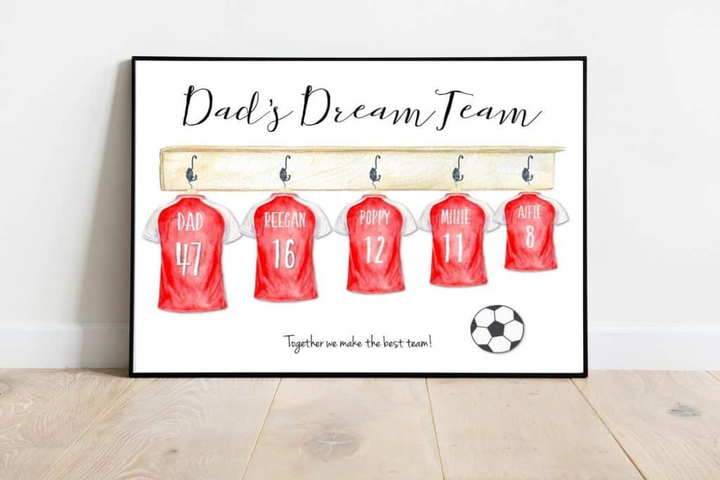 Dad's dream team print gift for dad on birthday