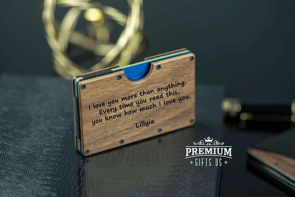 best gift for boyfriend long distance: Engraved Wooden Wallet
