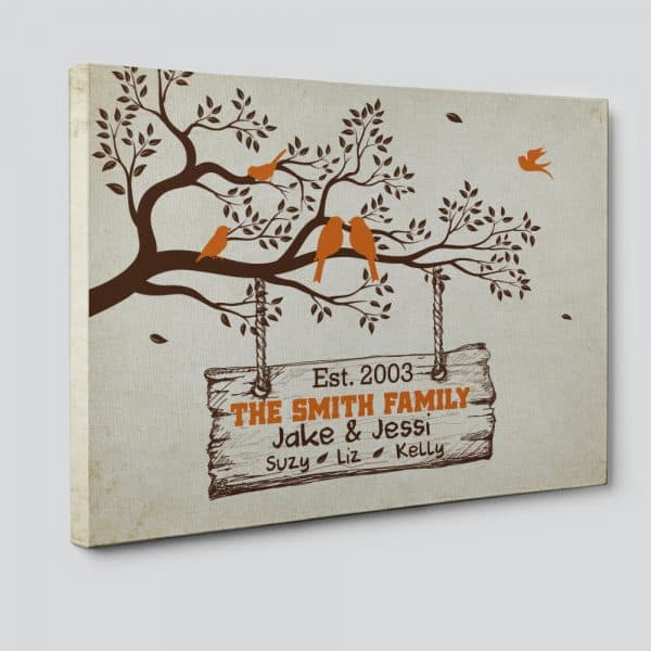 Family Tree Branch With Birds Canvas Print – Custom Family Names & Year