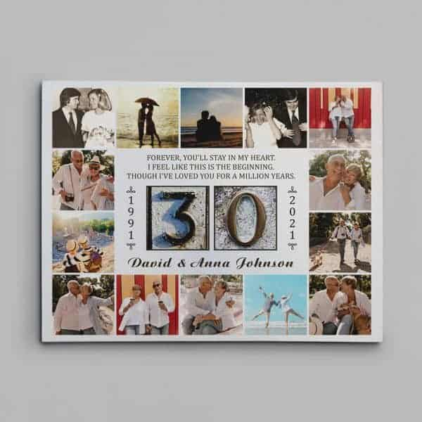 Forever You'll Stay In My Heart (30 Years) Photo Collage Canvas Print