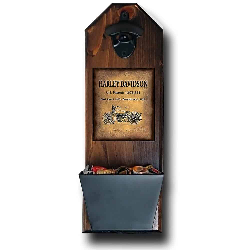Harley Davidson Wall Mounted Bottle Opener and Cap Catcher As A Gift For Dad On His Birthday
