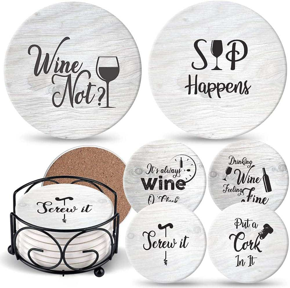 Hostess Coasters for Drinks Absorbents with Holder