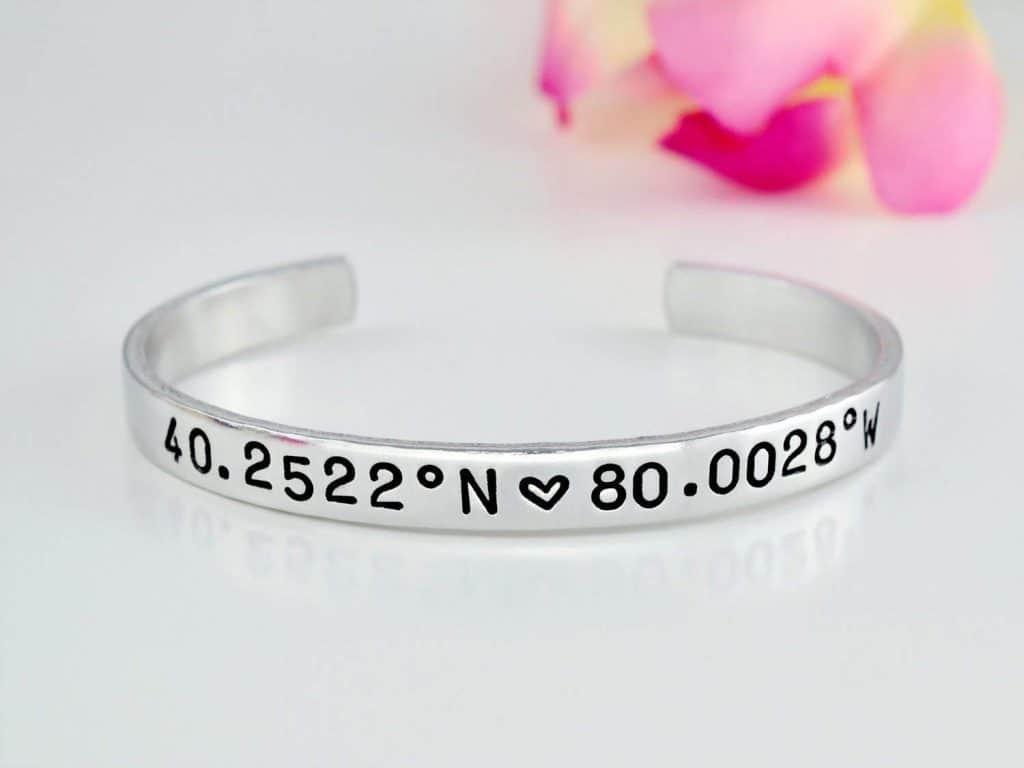 long distance gifts: Latitude Longitude Coordinates Bracelet