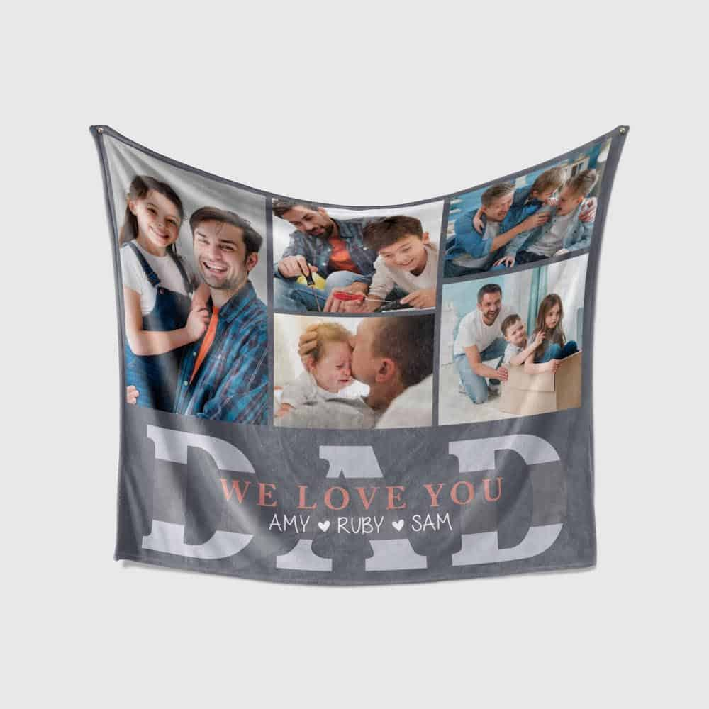We Love You DAD Custom Photo Collage And Name Blanket