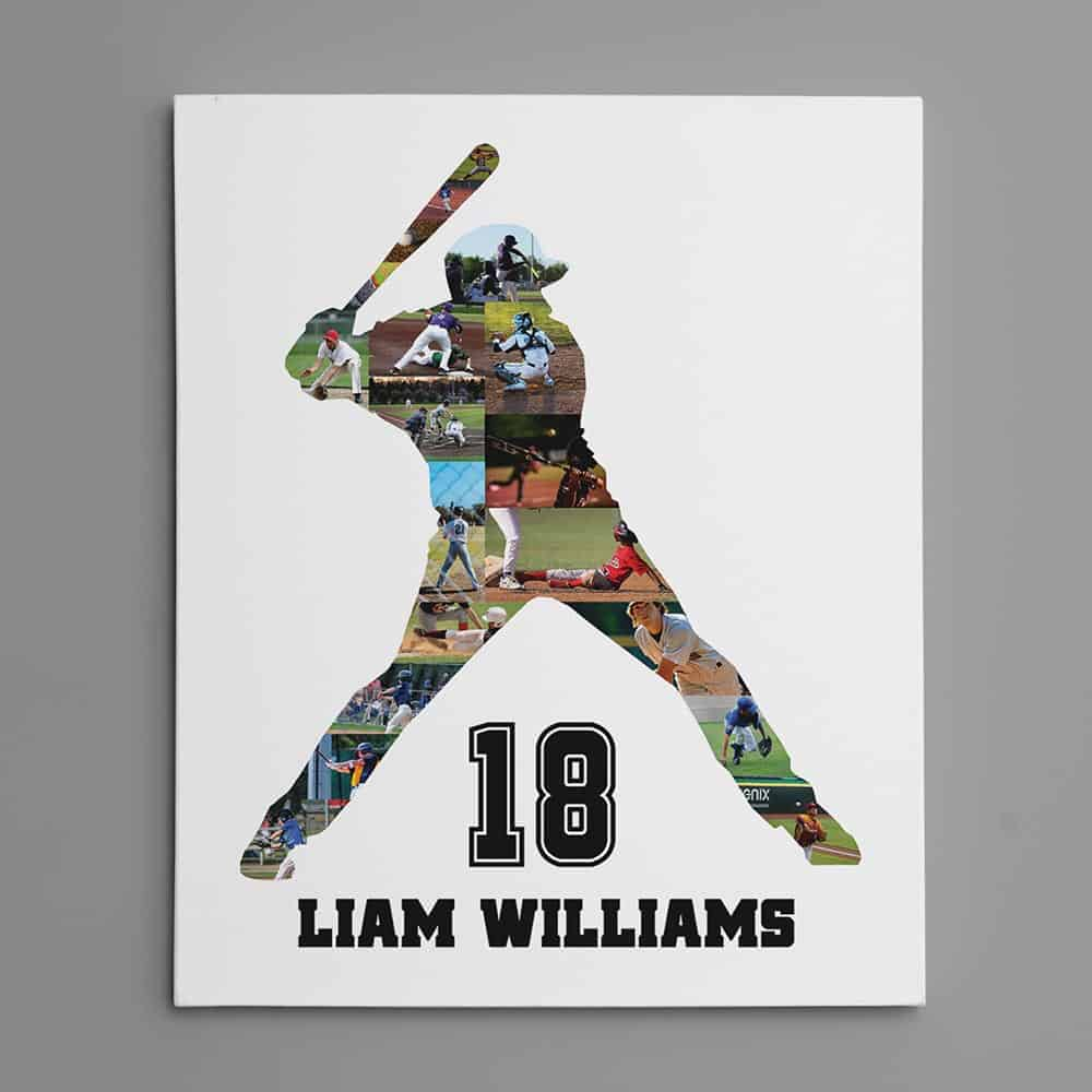 a baseball silhouette photo collage print - gift for brother who plays baseball