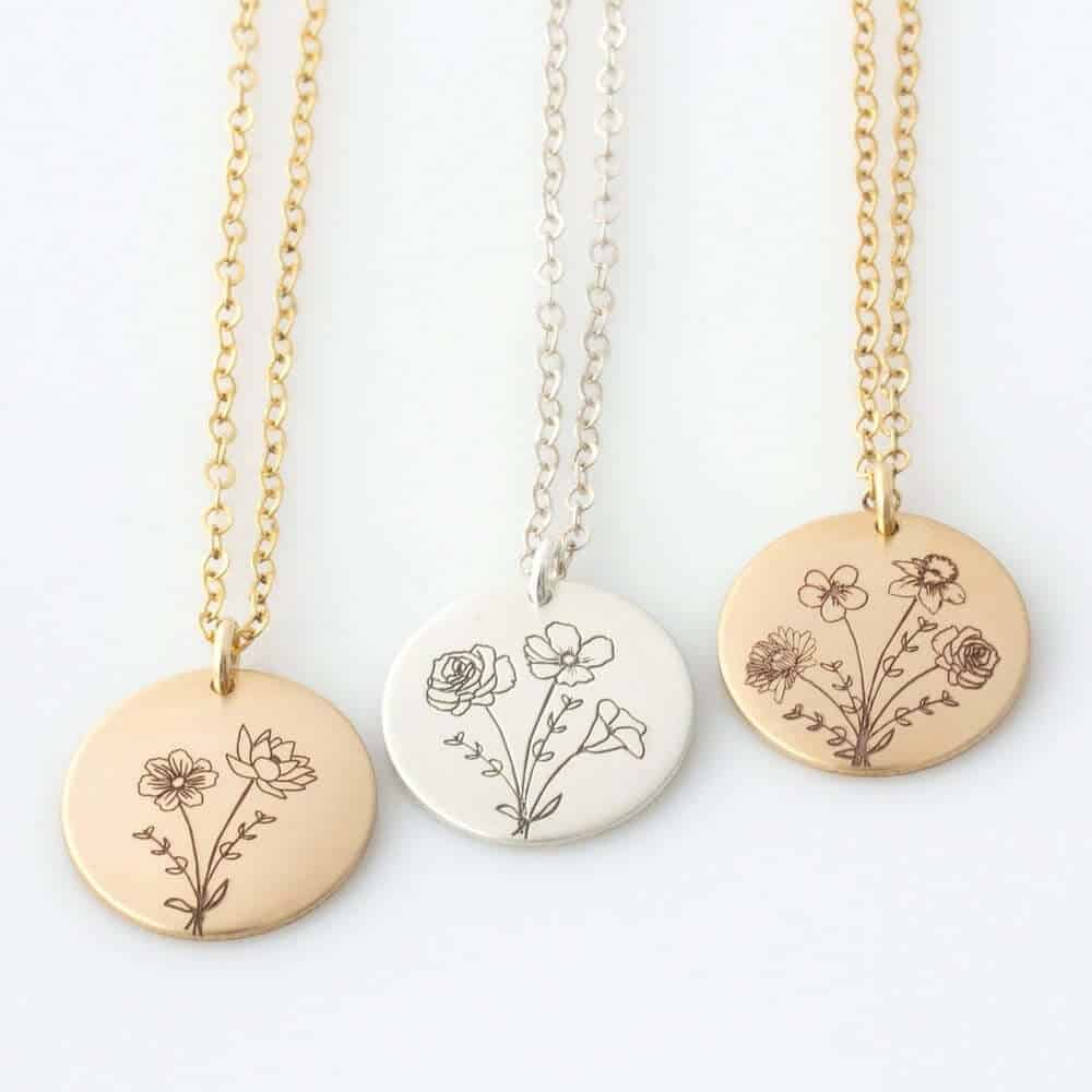 birth flower necklace - birthday gift for daughter in law