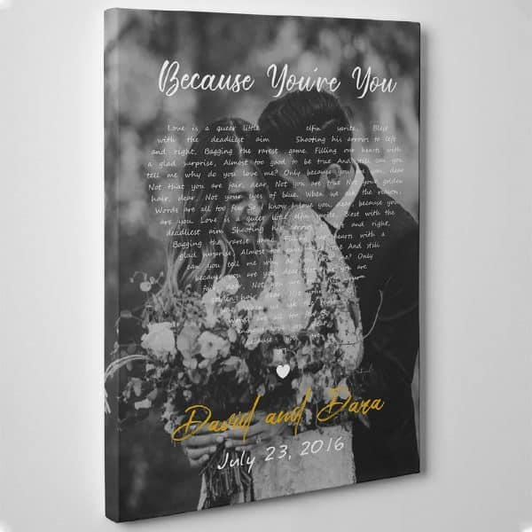 gifts for the woman who wants nothing: song lyrics photo canvas print
