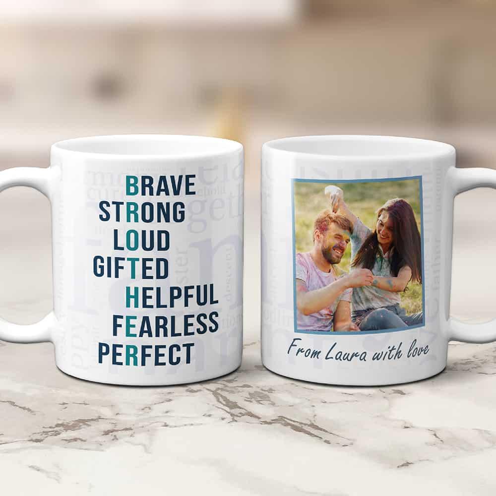 a photo coffee mug gift with acronym of brother