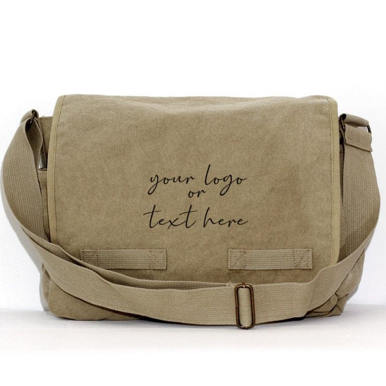 a canvas messenger bag customized with brothers name