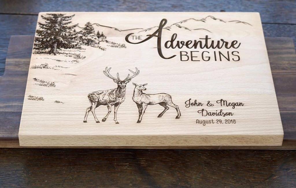 hunting gifts for husband: custom cutting board