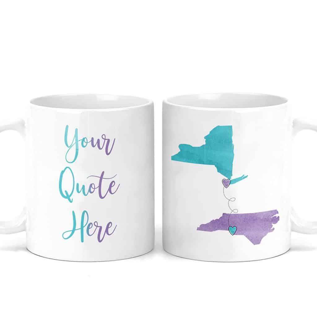 custom long distance coffee mugs with quote