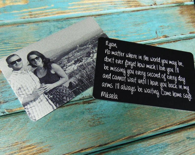 valentine gifts for long distance boyfriend: engraved photo wallet with photo