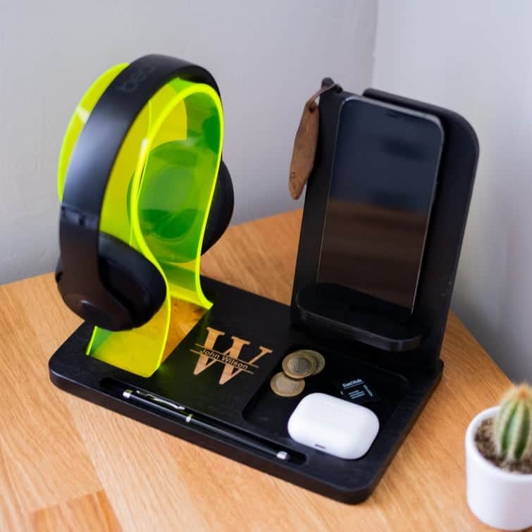 a personalized headphone and phone stand gift for brother from sister