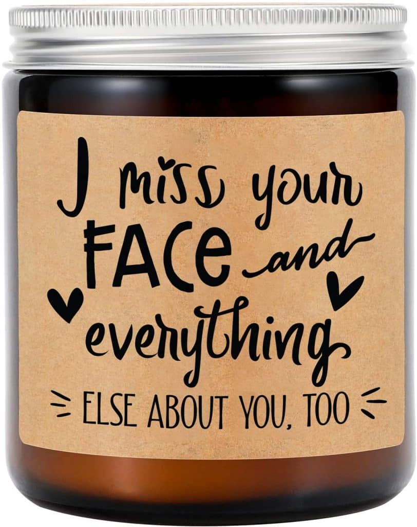 long distance valentines day gifts: 'i miss your face' candle