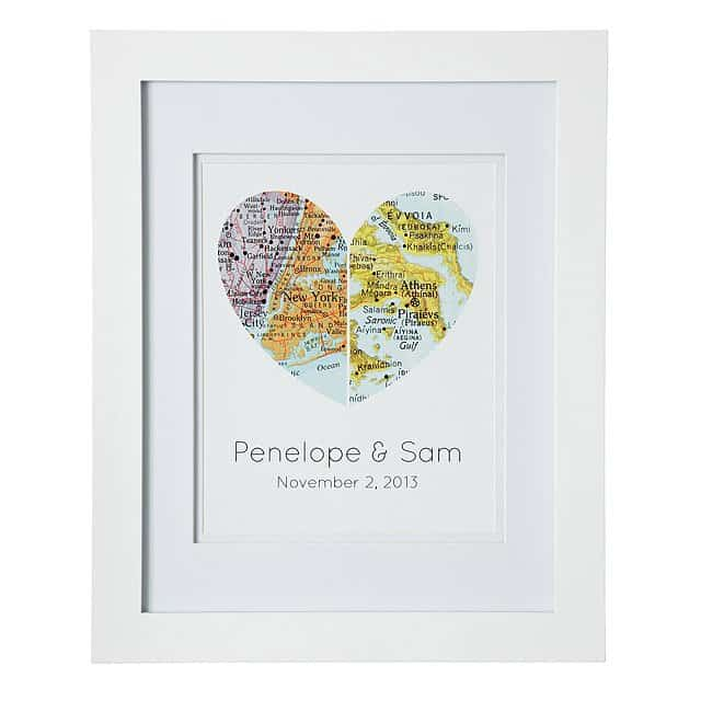 valentine gifts for long distance relationships: maps of our hearts frame